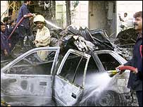The aftermath of the explosion in Karachi