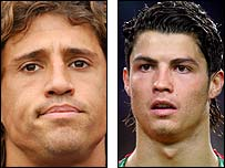 Chelsea striker Hernan Crespo (left) and Cristiano Ronaldo (right)