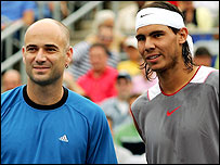 Andre Agassi (L) and Rafael Nadal have both pulled out of the Masters Cup