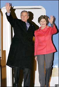 US President George W Bush and his wife, Laura, at Osaka's International airport, Japan