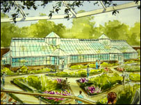 Artist's impression of John Belle's glasshouse