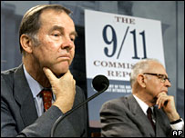 Thomas Kean (l) and Lee Hamilton report on progress on the 9/11 commission recommendations