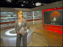 Natasha Kaplinsky on the set of the BBC 6'o clock news