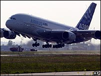 The Airbus A380 on its maiden flight in April