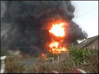 Huge fire at scrap yard in Poole