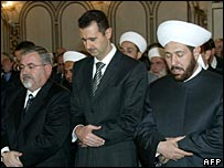 President Bashar al-Assad prays in Damascus
