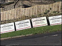 The dumped Lancashire County Council signs