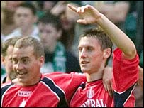 Darryl Duffy (right) in celebratory mood for Falkirk