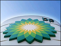 BP logo outside petrol station