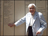 Survivor Pearl Good points to Karl Plagge's name on Wall of Honour at Yad Vashem (pic: Yad Vashem)