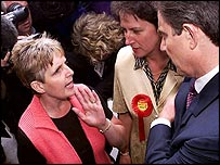 Blair is confronted by Sharron Storer at a Birmingham hospital