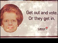 Labour poster showing William Hague with Margaret Thatcher's hair