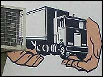Cartoon of a truck in God's hands