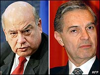 Chilean Jose Miguel Insulza (l) and Mexico's Luis Ernesto Derbez