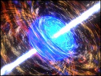 Artist's impression of gamma ray burst     Image: Nasa
