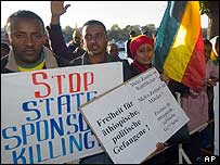 Ethiopian protester in Germany (archive photo)