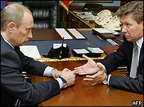 Russian President Vladimir Putin (left) and Gazprom chief executive Alexei Miller