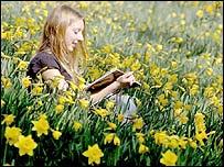 Joven lee en un campo de flores