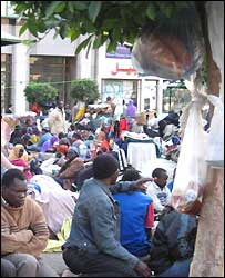 Sudanese demonstrators camped outside the UNHCR office in Cairo