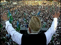 Qazi Hussain addressing a rally