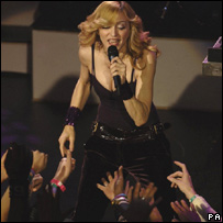 Madonna performing at London's Koko club