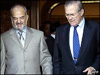 Iraqi Prime Minister Ibrahim Jaafari and Donald Rumsfeld