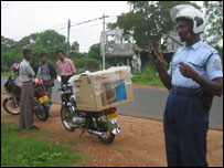 Motorcyclists being fined for speeding in Kilinochchi