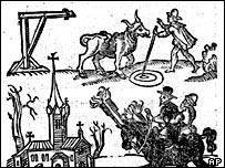 Woodcut of a witch's trial