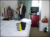 Rachel in her hotel room