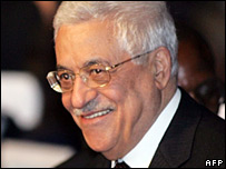 Palestinian leader Mahmoud Abbas arrives at the World Summit on the Information Society (WSIS)