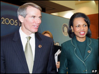 The US's Condoleezza Rice and Rob Portman at the Apec meeting