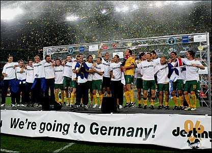 The Socceroos celebrate their win