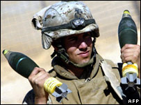 US marine with mortar bombs in 2005 operation