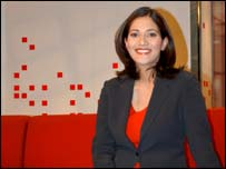 Mishal Husain on the Breakfast studio set