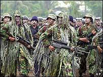 Indonesian marines on training exercise