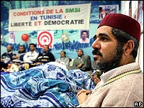 Opponents of the current regime in Tunisia stage a hunger strike in Geneva, Switzerland