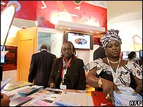 Senegal stand during the World Summit on the Internet Society