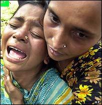 Anxious relatives in Savar