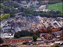 Greenalls distillery after fire