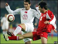Hamit Altintop of Turkey and Switzerland's Raphael Wicky