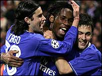 Chelsea's Didier Drogba, Tiago and Joe Cole celebrate