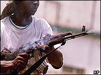 Rebel fighter in Sierra Leone