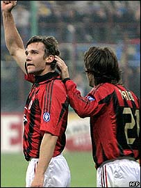 Andriy Shevchenko celebrates his opener