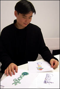 Dennis Hwang with some of his designs