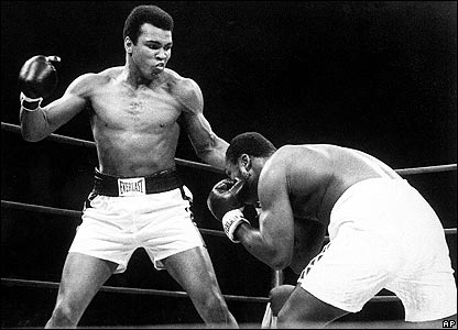 Ali throws a punch at Joe Frazier during their bout at Madison Square Garden in New York, 28 Jan, 1974.
