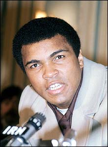 Ali gives a news conference at the Savoy Hotel
