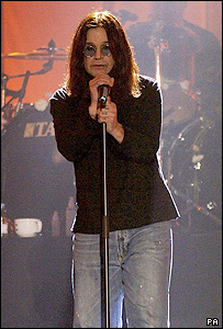 Ozzy Osbourne on stage at Alexandra Palace