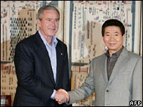 George W Bush and Roh Moo-hyun