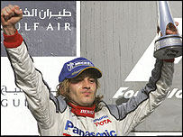 Jarno Trulli on the podium in Bahrain