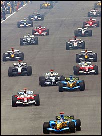 The Toyotas of Jarno Trulli and Ralf Schumacher are second and fifth at the start of the 2005 Malaysian Grand Prix